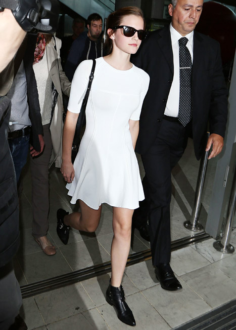 Emma Watson Wears Clingy White Dress at Airport in France