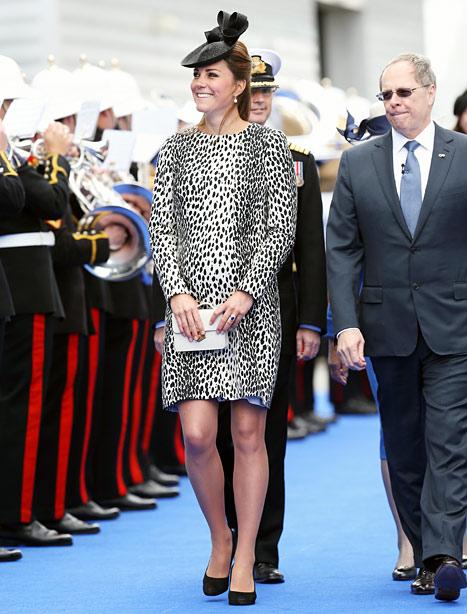 Kate Middleton Wears Dalmatian Print Coat, Christens Royal Princess Ship