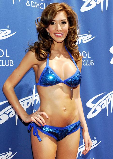 Farrah Abraham Shows Off Boob Job in Blue Bikini, Suffers Nip Slip