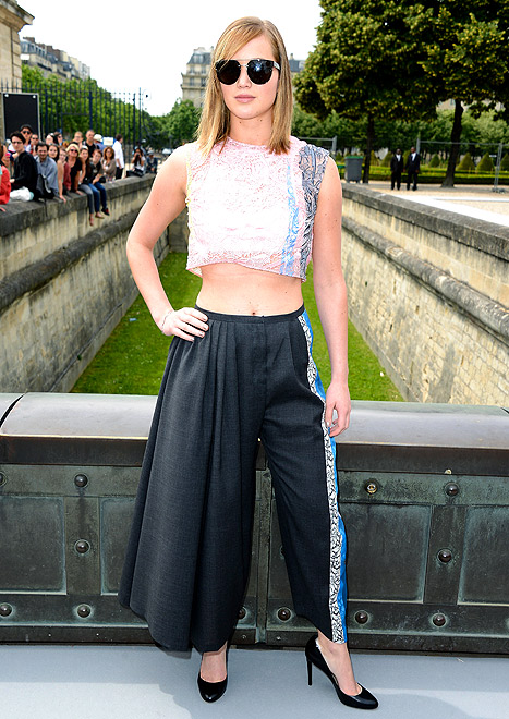 Jennifer Lawrence Bares Midriff in Bizarre Outfit at Paris Fashion Show