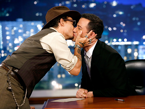 Johnny Depp Kisses Jimmy Kimmel on the Lips, Talk Show Host Flustered: Picture