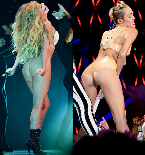 Miley Cyrus, Lady Gaga Both Bare Butts in Risque VMA Performances