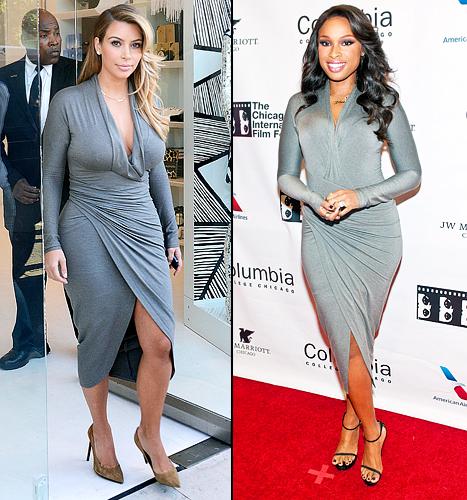 Kim Kardashian, Jennifer Hudson Wear Same Clingy Grey Dress: Who Wore It Better?