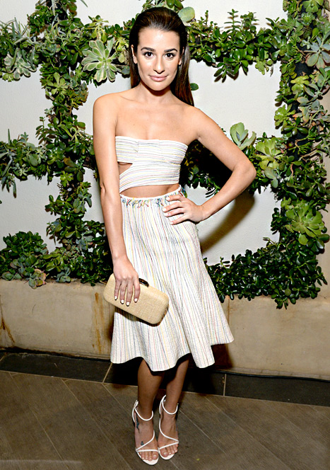 Lea Michele Looks Skinny, Shows Underboob in Strapless White Dress