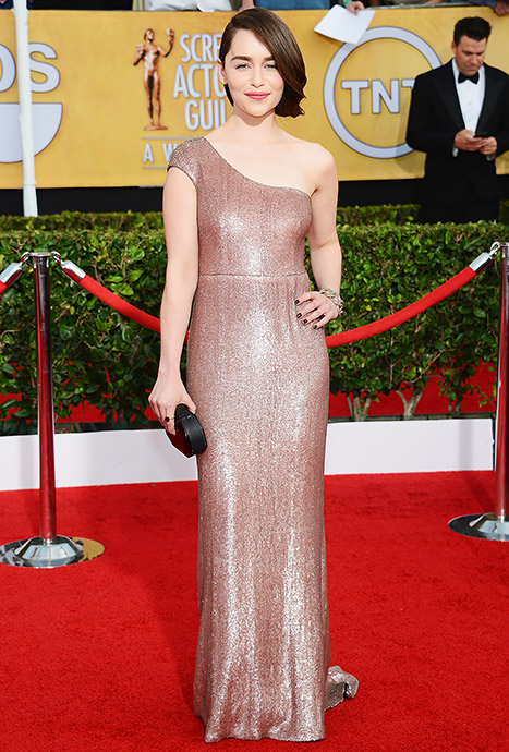 Emilia Clarke Says She's Never Been Blonde in Real Life, Flirts With Jared Leto at SAGs 2014