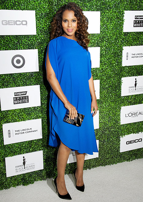 Kerry Washington Dresses Baby Bump in Chic Blue Sheath at Essence Lunch