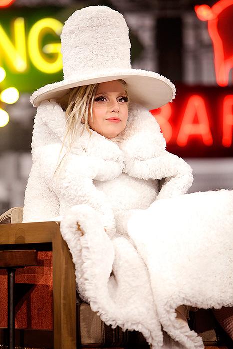 Lady Gaga's Coffee Filter Dress on Jimmy Kimmel Live: Caption It!