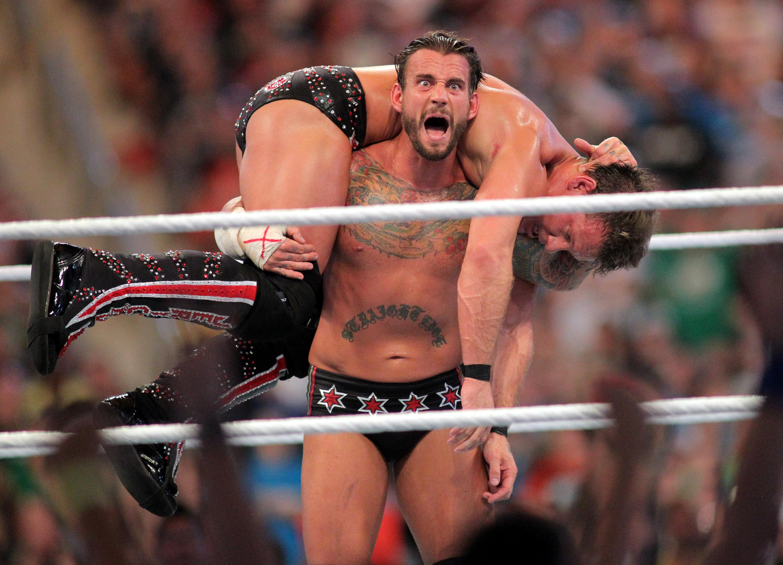C.M. Punk competes against Chris Jericho at WrestleMania XXVIII on April 1, 2012. (AP)