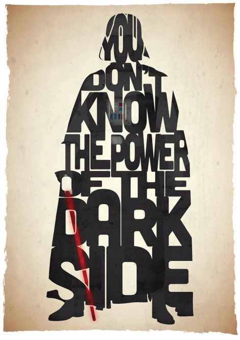 Iconic Star Wars characters in awesome typographic portraits