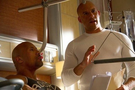 New Fast and Furious 7 picture shows Vin Diesel and Dwayne Johnson at work