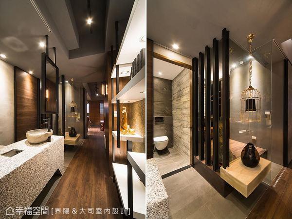 以藝廊概念打造的廊道左右分列展示平台,也成為界分衛浴與書房的中介。馬健凱設計師另運用仿木紋磚及深色磚體,構築風格相仿的衛浴空間。