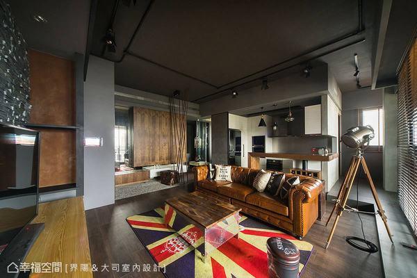 漸層灰的基調中挹注木質元素平衡空間暖度,再佐添石材、鐵件及工業風家具家飾讓風格到位。
