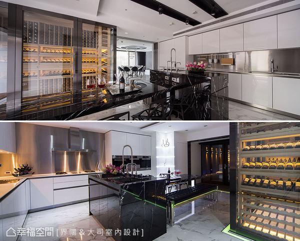 為千萬價值的名酒珍藏,以特殊玻璃打造媲美世界級餐廳中的二十四小時恆溫酒窖,成為難以忽略的一大焦點。