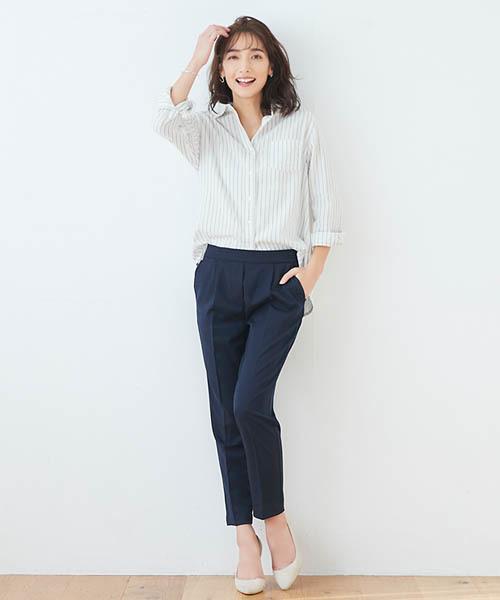 Pierrot海軍藍中摺線AB褲