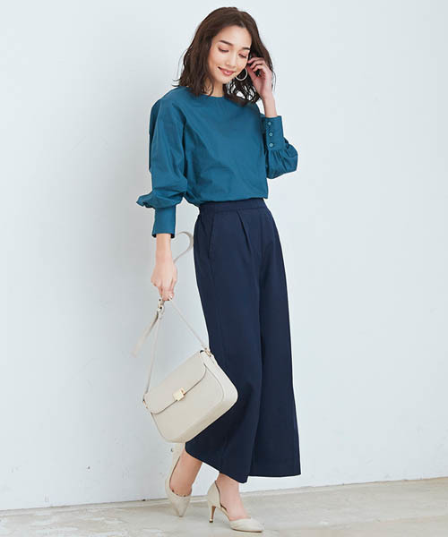 Pierrot海軍藍寬版褲