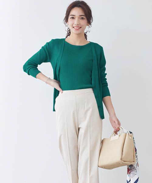 Pierrot綠色針織上衣外套兩件組