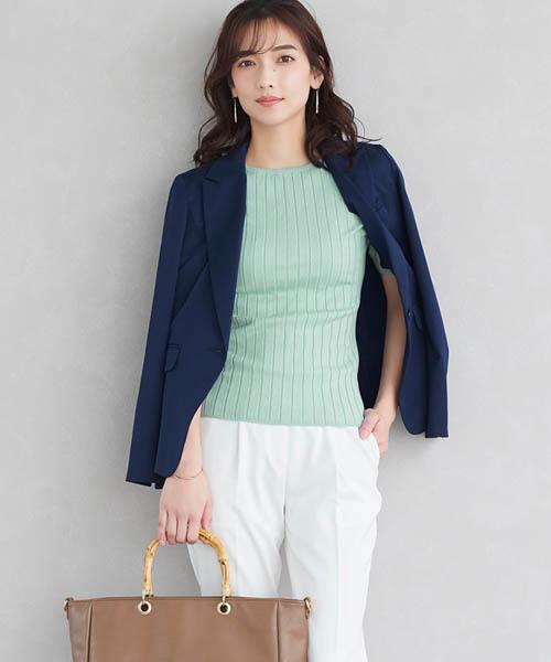 Pierrot薄荷綠夏季羅紋針織衫