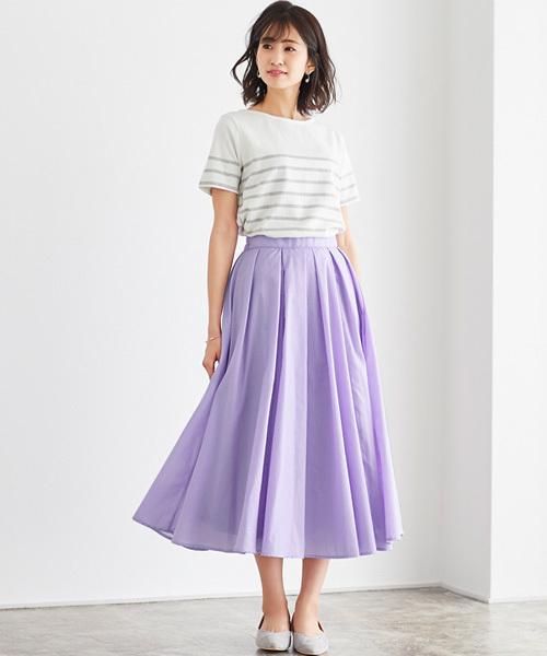 Pierrot淡紫色荷葉長裙