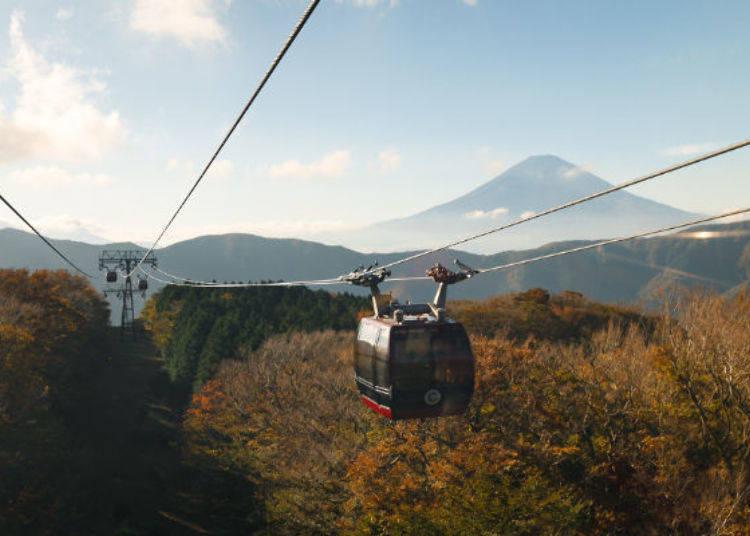▲出桃源台站後大約2~3分鐘,一直到大涌谷站為止,沿途都有富士山相伴