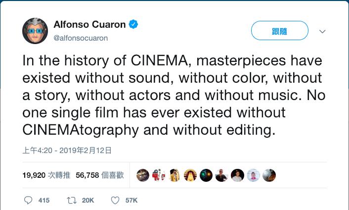 導演艾方索柯朗在推特上發文,指出影史從未有一部片可以沒有攝影、沒有剪輯,反擊奧斯卡主辦單位決定在廣告時段頒獎的決策。(翻攝Alfonso Cuarón推特)