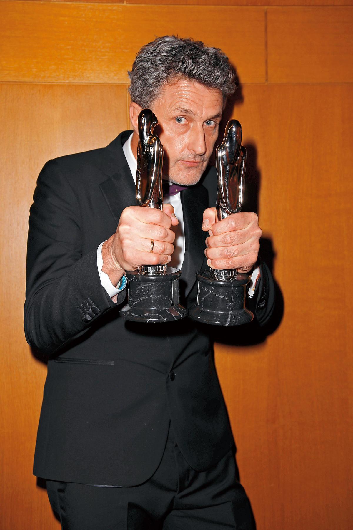 波蘭導演帕威帕利科斯基因《沒有煙硝的愛情》入圍奧斯卡最佳導演獎,圖為他去年底贏得歐洲電影獎的畫面。(東方IC)