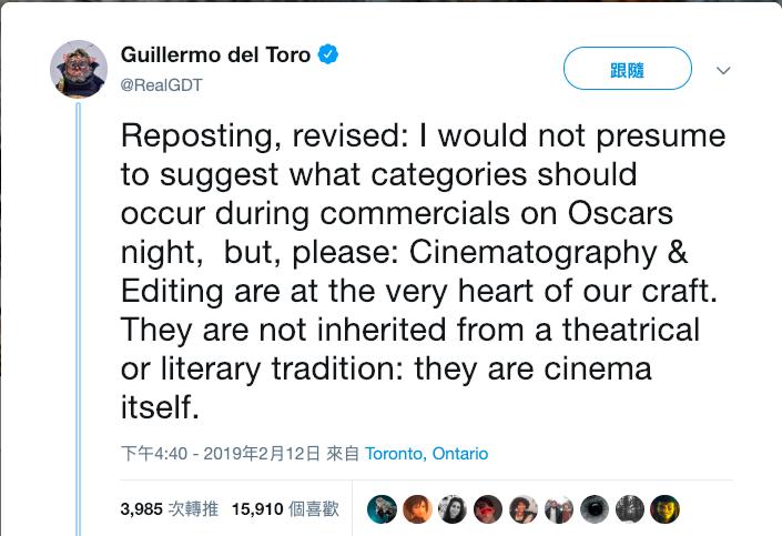 去年榮獲奧斯卡最佳導演的吉勒摩戴托羅在推特上發文,表示攝影與剪接本身就是電影。(翻攝Guillermo del Toro推特)