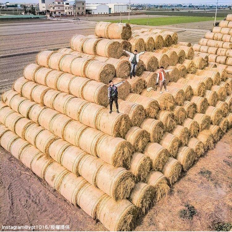 「金億陽農場」的稻草捲景色,就像金字塔般,很有特色。圖:翻攝自instagram ygt1016/開放權限