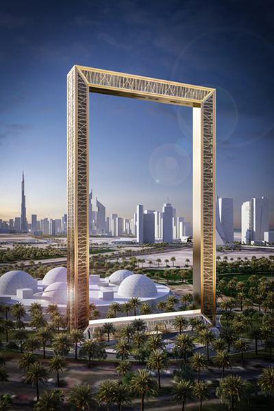 杜拜之框由93公尺玻璃步道連接兩座150公尺高塔樓 (圖/Dubai Frame)