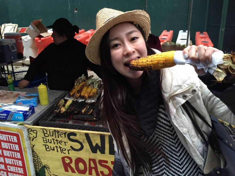 位於地獄廚房附近市集的烤玉米,是張棋惠吃過最好吃的玉米。