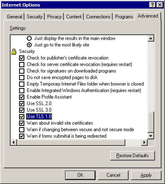 Checkbox for using TLS