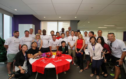 Liverpool legends with Yahoo employees