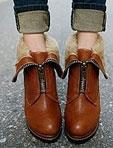 皮草反折拉鏈粗跟短靴