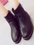 側拉鏈皮革短靴