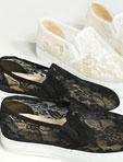 韓版唯美蕾絲透膚懶人鞋