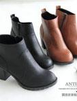 質感皮革騎士粗跟短靴