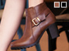 MIT側釦粗跟短靴