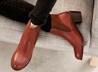 烤色低跟短筒靴
