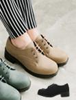 正韓製皮革粗跟靴