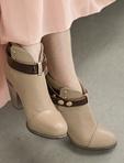 法式皮扣高跟短靴