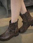 韓國復古銅金屬機車靴