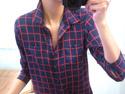 知性藍紅格紋雪紡衫