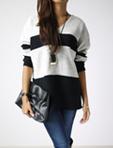 橫紋針織雪紡上衣
