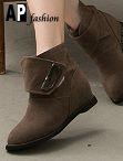 韓風圓頭平底短靴