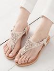 五角星星鑽飾楔形夾腳涼鞋