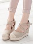 韓風休閒款帆布楔型鞋