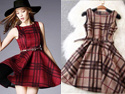 格子紋大襬洋裝裙