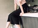 棉質顯瘦開岔長裙