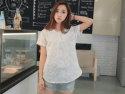刺繡蕾絲寬鬆棉麻衫