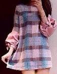 公主袖七彩格子連衣裙
