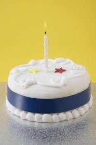 Birthday Cake with Illuminated Candle